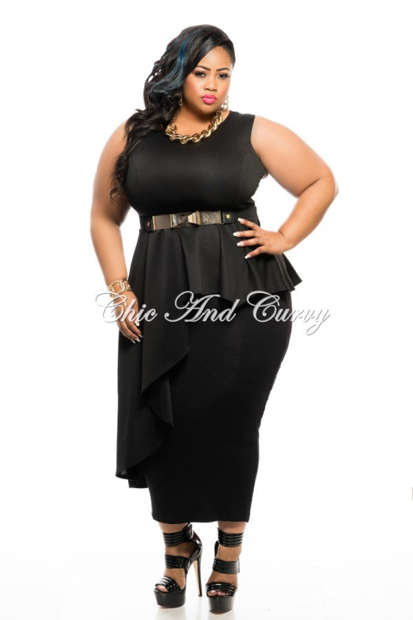 New Plus Size Peplum Top with Side Cascade in Black – Chic And Curvy