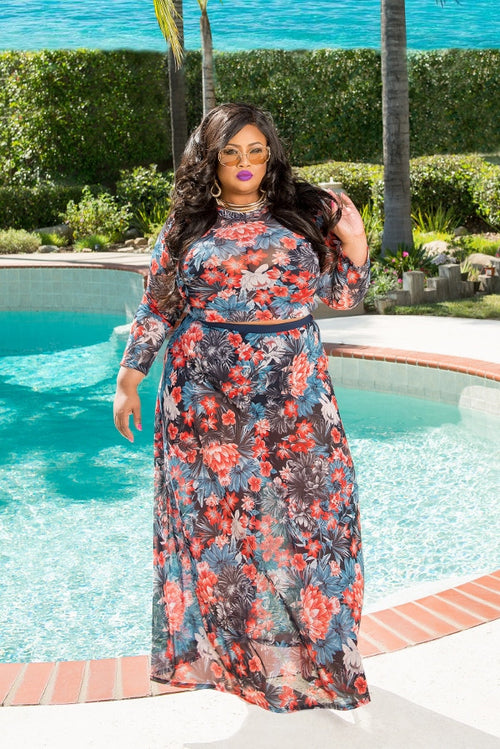 Final Sale Plus Size 2 Piece Floral Crop Top with Skirt in Blue, Red and Black