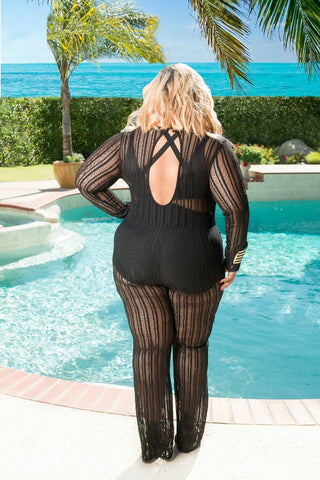 Final Sale Plus Size Long Sleeve Mesh Jumpsuit in Black