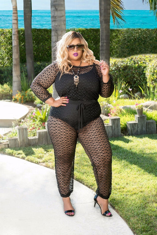 Final Sale Plus Size Long Sleeve Large Hole Mesh Jumpsuit in Black