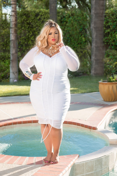35% Off Sale - Final Sale  Plus Size BodyCon Sheer Ruched Dress in White
