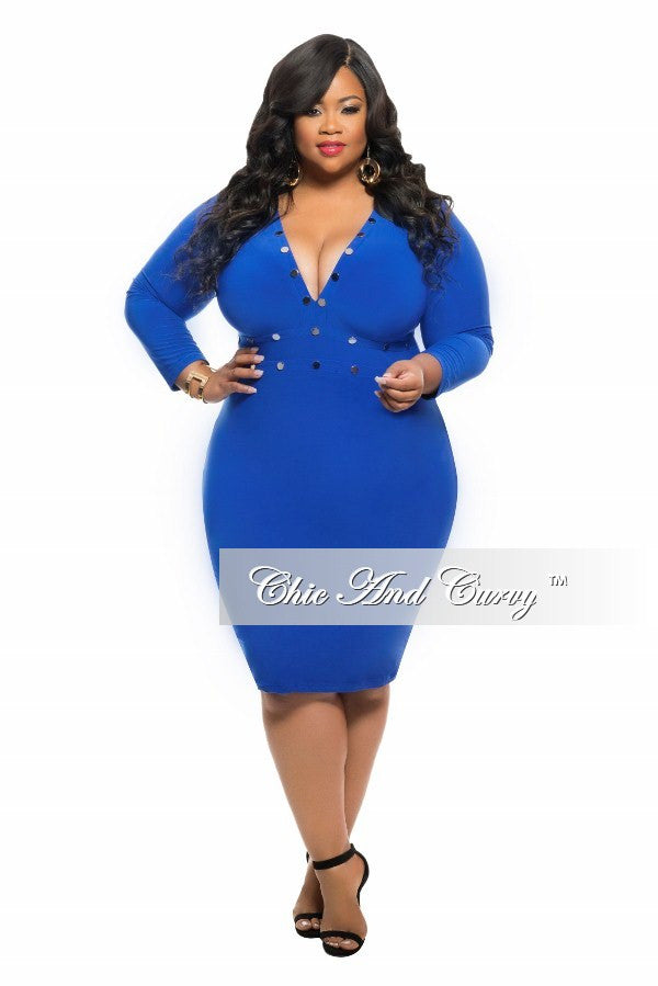 New Plus Size BodyCon Dress with Rivet Stud Details and 3/4 Sleeves in Royal Blue