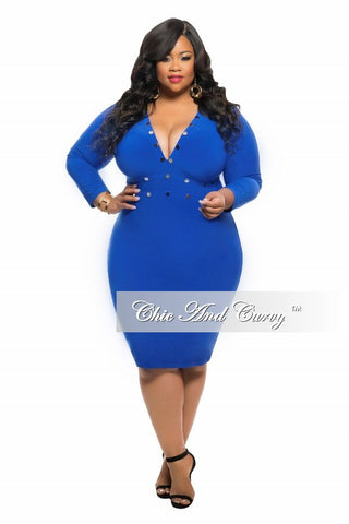 50% Off Sale - Final Sale Plus Size BodyCon Dress with Rivet Stud Details and 3/4 Sleeves in Royal Blue