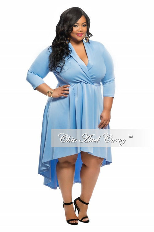 Final Sale Plus Size Dress with V-Neck and Tail in Blue