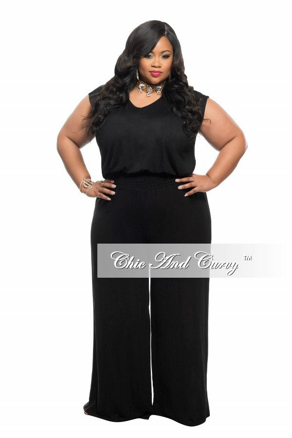 New Plus Size Jumpsuit with Elastic Waistband in Black