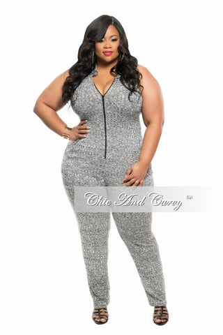 New Plus Size Jumpsuit with Zipper Front in Grey