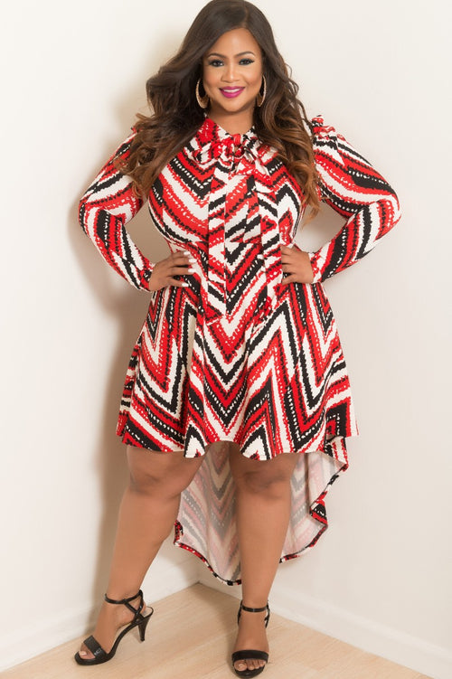 Final Sale Plus Size Long Sleeve High-Low Dress with Neck Tie in Red Black and Off White Print