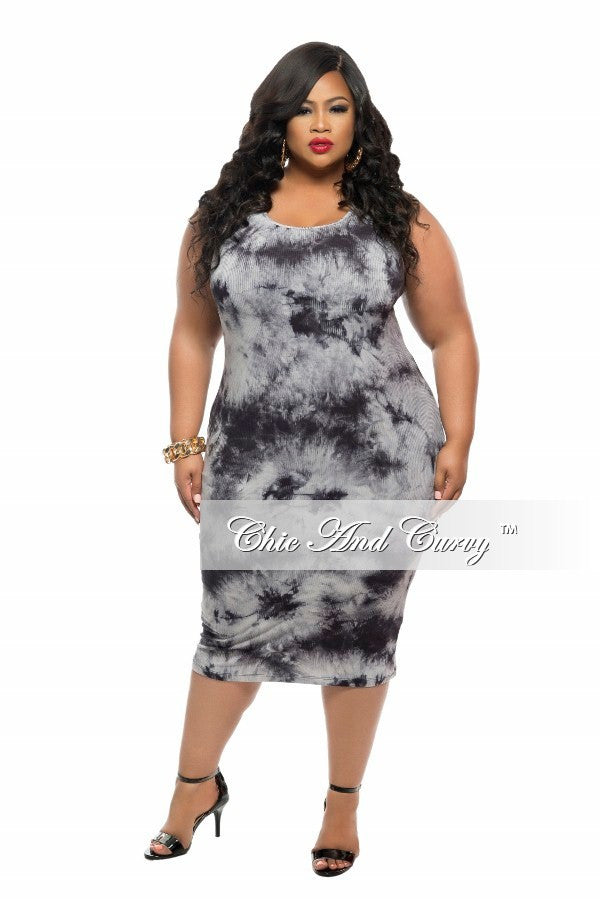 New Plus Size Tank BodyCon Dress in Grey Tie Dye Print