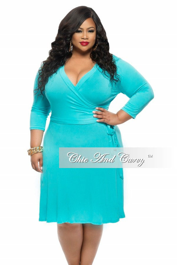 FINAL Plus Size Short Dress with Tie in Turquoise