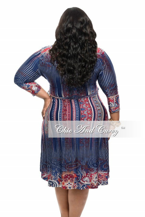 New Plus Size Short Dress with Tie in Blue, Red and Orange Print