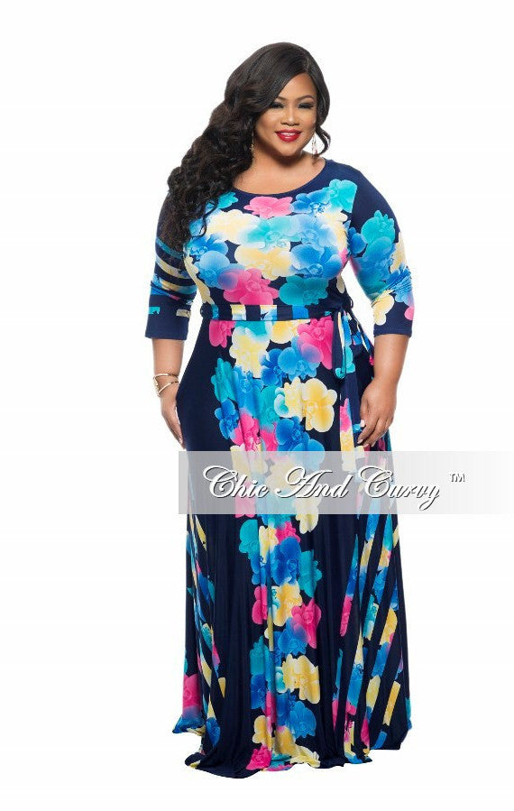 New Plus Size Long Dress with 3/4 Sleeve and Tie in Dark Blue and Yellow Flower Print
