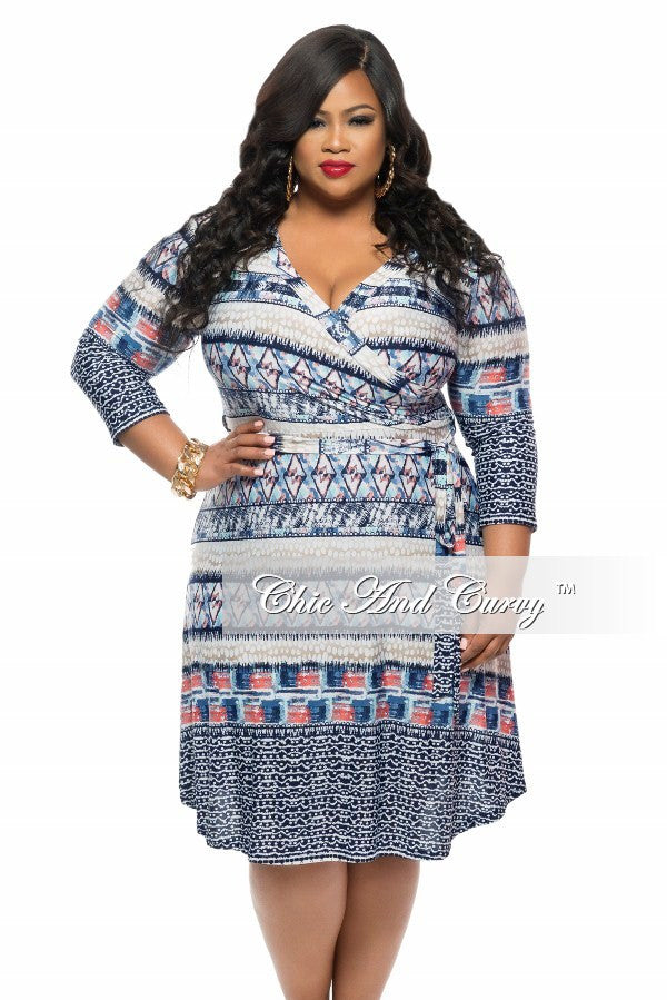 Final Plus Size Short Dress with Tie in Blue, Coral, and Blue Print