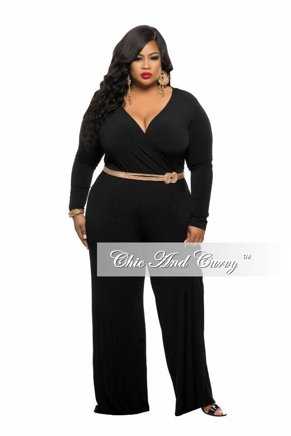New Plus Size Jumpsuit with Faux Wrap Top in Black