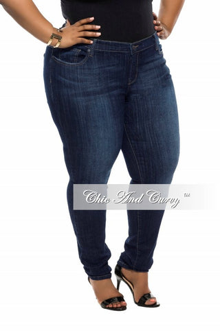 New Plus Size Denim Jeans with Faded Highlights in Dark Blue