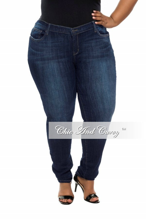 Final Sale Plus Size Denim Jeans with Faded Highlights in Dark Blue