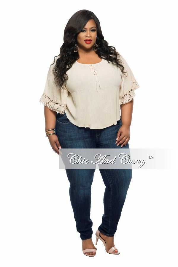 Final Sale Plus Size Top with Floral Hem in Tan