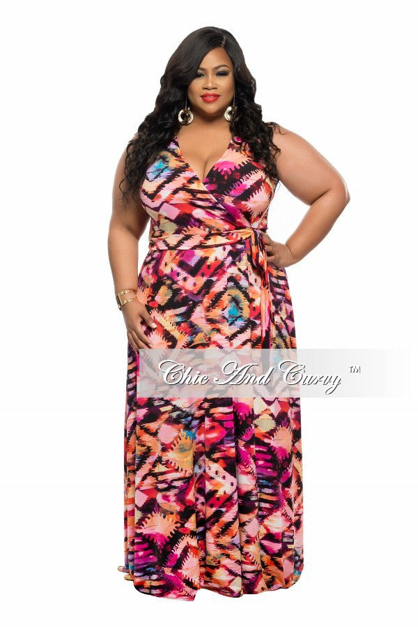 New Plus Size Sleeveless Maxi Dress with Tie in Pink, Peach, and Orange Print