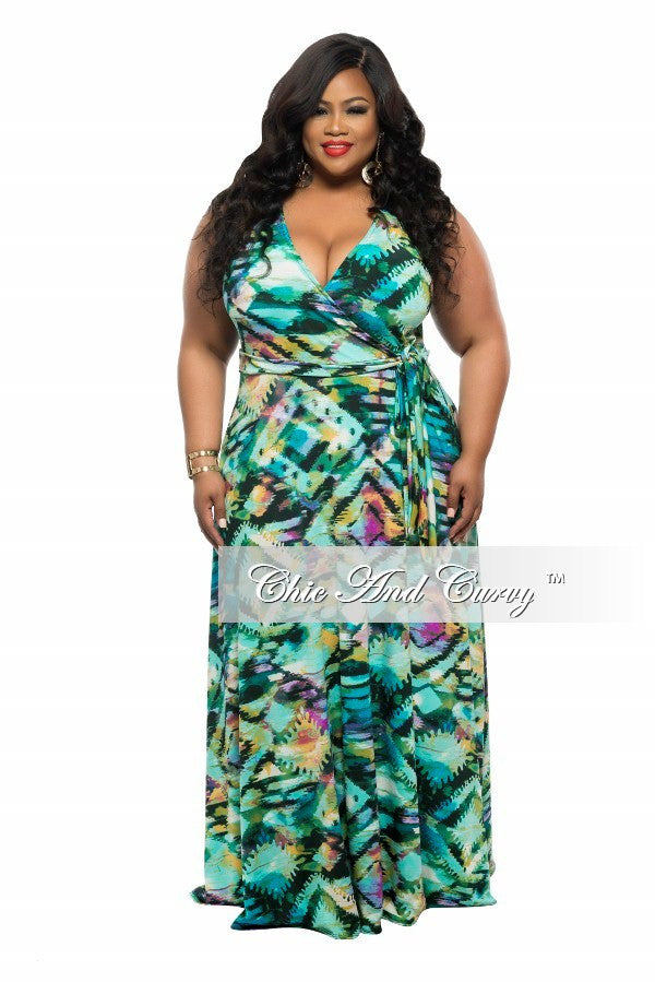 New Plus Size Sleeveless Maxi Dress with Tie in Green, Black and Mustard Print