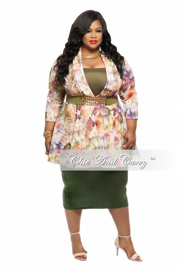 New Plus Size Dress/Top  with V-Neck in Ivory, Green and Pink Floral Print