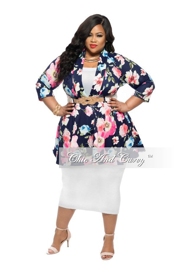 New Plus Size Dress/Top  with V-Neck in Blue, Pink, and Yellow Floral Print