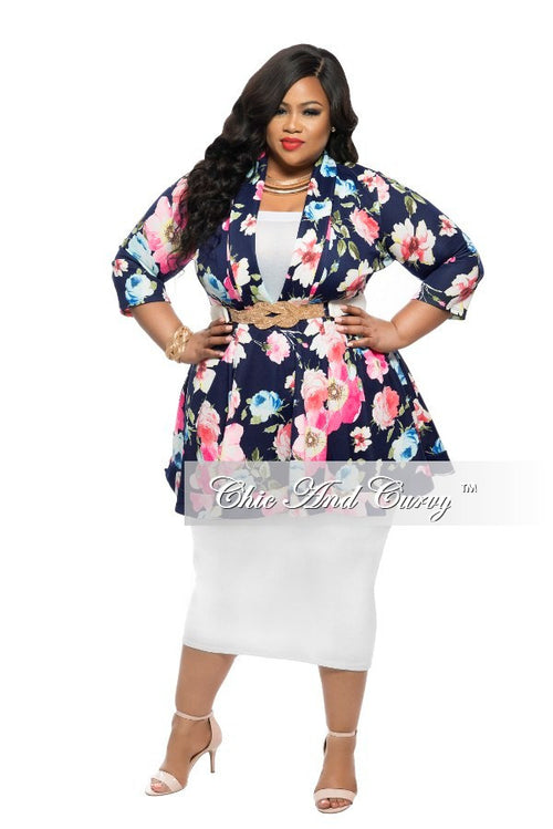 Final Sale Plus Size Dress/Top  with V-Neck in Blue, Pink, and Yellow Floral Print