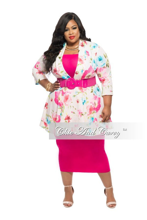 Final Sale Plus Size Dress/Top  with V-Neck in Pink, Baby Blue and Yellow Floral Print