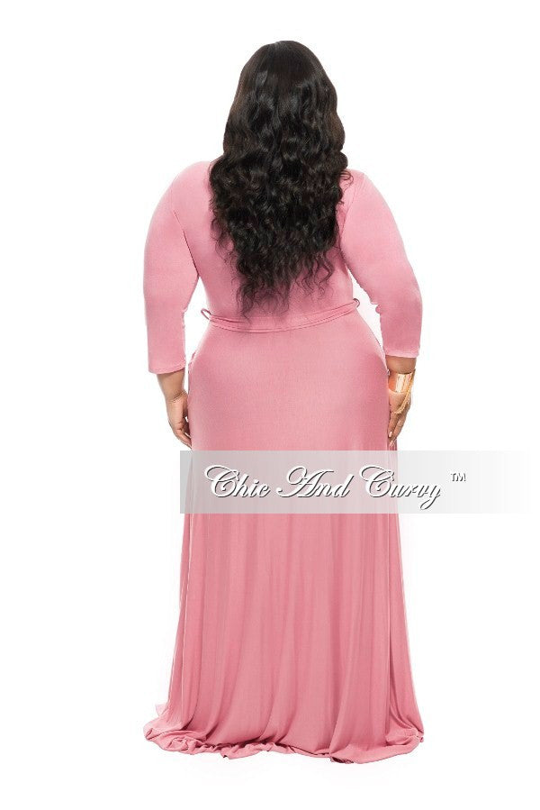 New Plus Size Long Dress with 3/4 Sleeve and Tie in Rose
