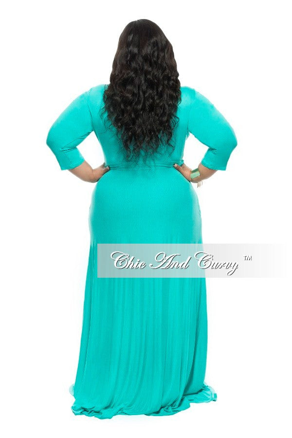 New Plus Size Long Dress with 3/4 Sleeve and Tie in Light Jade Green