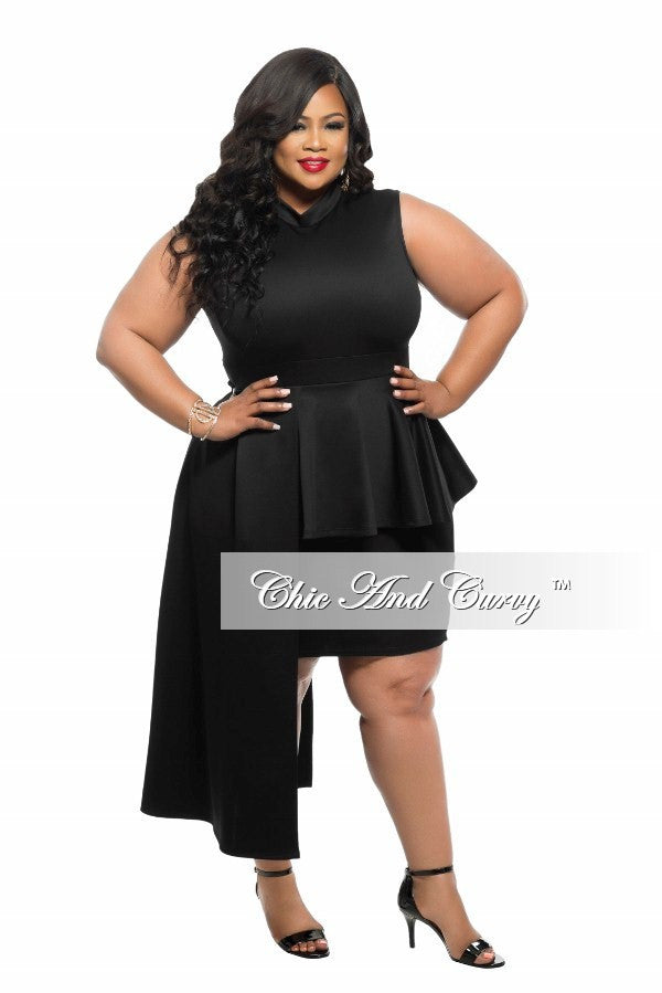 New Plus Size BodyCon Sleeveless Dress with Peplum Drop in Black