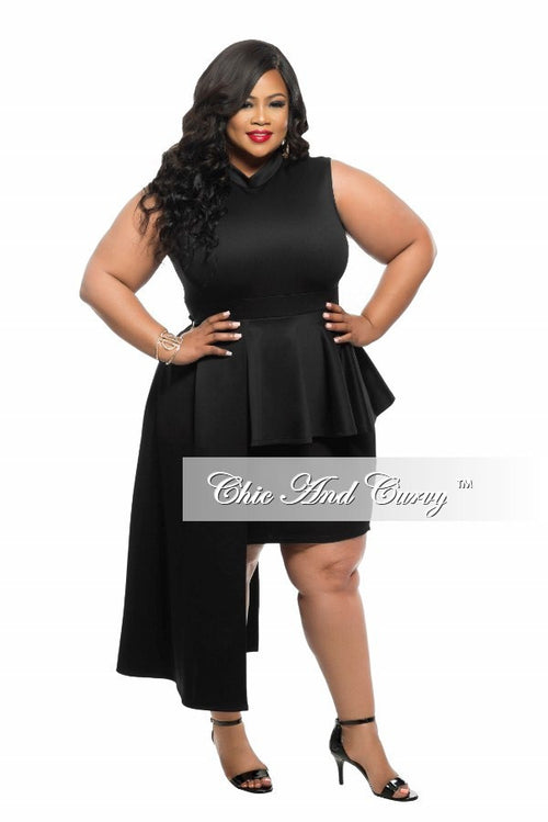 50% Off Sale - Final Sale Plus Size BodyCon Sleeveless Dress with Peplum Drop in Black