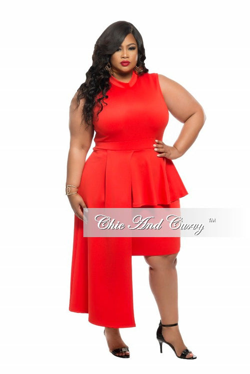 Final Sale Plus Size BodyCon Sleeveless Dress with Peplum Drop in Red