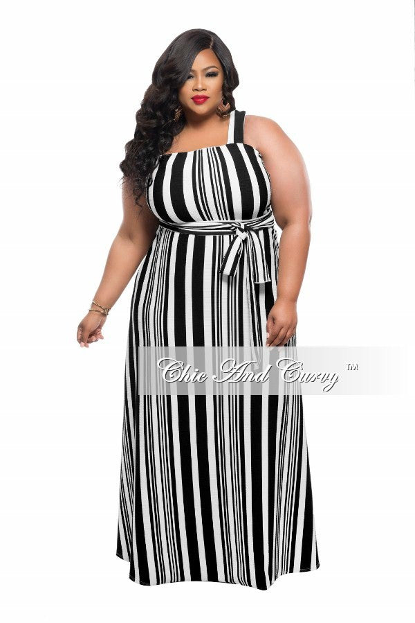 New Plus Size Maxi Dress with Single Strap in Black and White Stripe Print