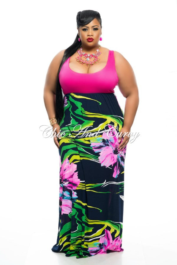 New Plus Size Long Dress Sleeveless Pink Tank Maxi with Pink, Navy, and Green Floral Print Bottom