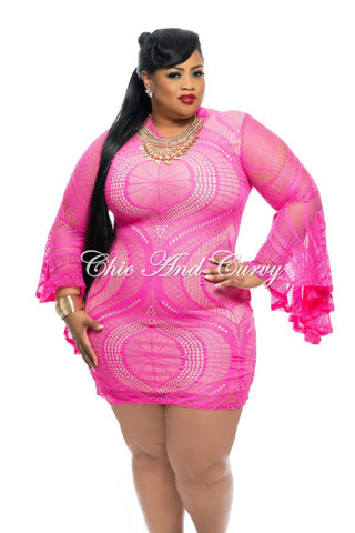 Final Sale Plus Size BodyCon w/ Flowy Long Sleeves and Lace Overlay in Pink and Nude