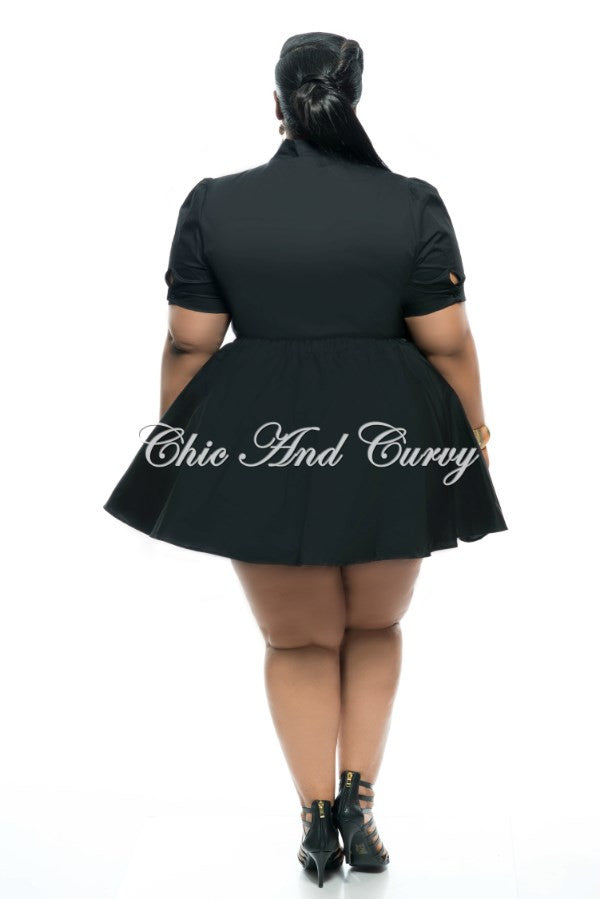 Final Plus Size 2-Piece Skirt Set with Neck Tie and Button Closure in Black
