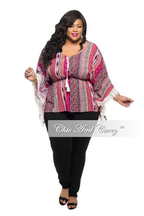 New Plus Size Top with Lace Fringe in Black, Red, and Brown Print