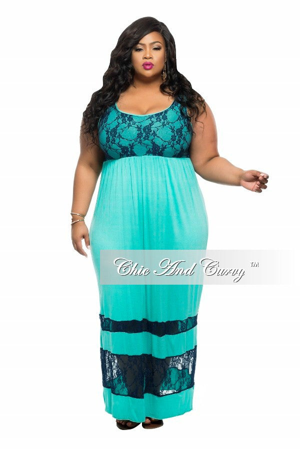 New Plus Size Maxi Dress with Lace Panels in Teal and Blue