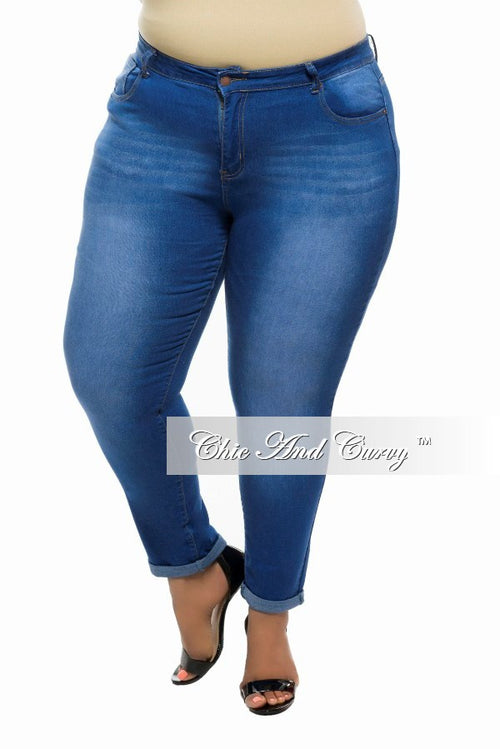Final Sale  Plus Size Denim Jeans with Faded Highlights in Blue