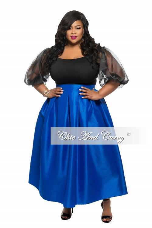 Final Sale Plus Size Off the Shoulder Sheer Cropped Top with Puffed Sleeve in Black