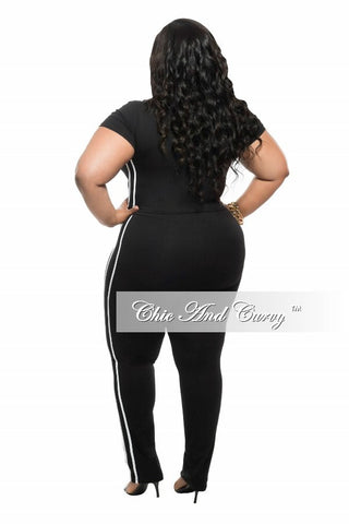 Final Sale Plus Size 2-Piece Crop Top and Pant Set with White Side Stripe in Black