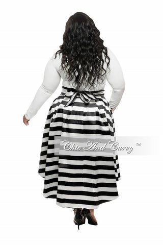 New Plus Size Skirt with Tail in Black and White Stripe