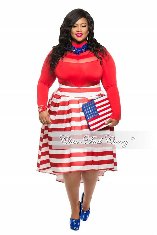 50% Off Sale - Final Sale Plus Size Skirt with Tail in Red and White Stripe