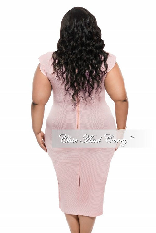 Final Sale Plus Size BodyCon with Cap Sleeves and Tie in Rose