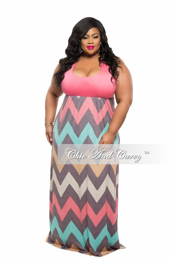 New Plus Size Maxi Dress with Razor Back Solid Top and Zig Zag Bottom in Coral