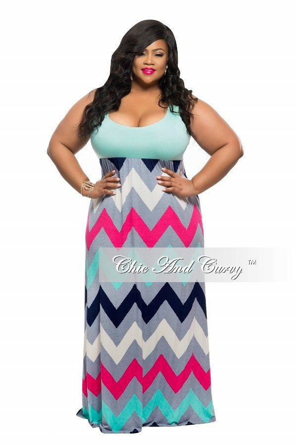 New Plus Size Maxi Dress with Razor Back Solid Top and Zig Zag Bottom in Aqua Blue