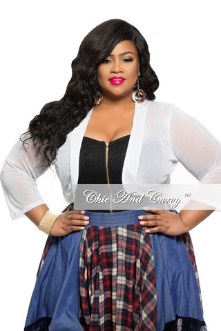 Final Sale Plus Size Sheer Short Jacket in White