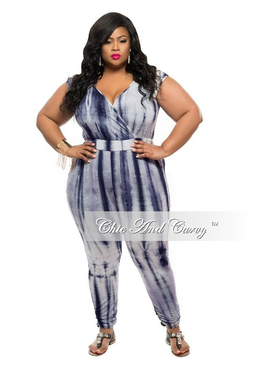 New Plus Size Jumpsuit with Faux Wrap Top in Tie Dye Grey Print