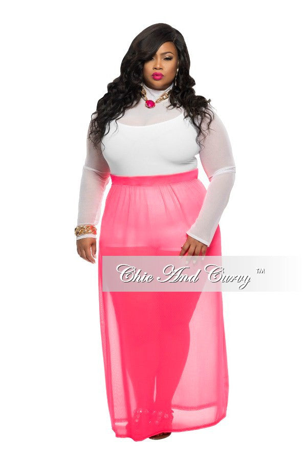 Final Sale Plus Size Long Skirt with Sheer Bottom in Pink