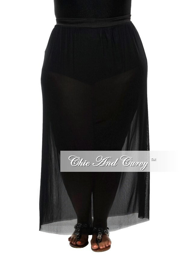 Final Sale Plus Size Long Skirt with Sheer Bottom in Black