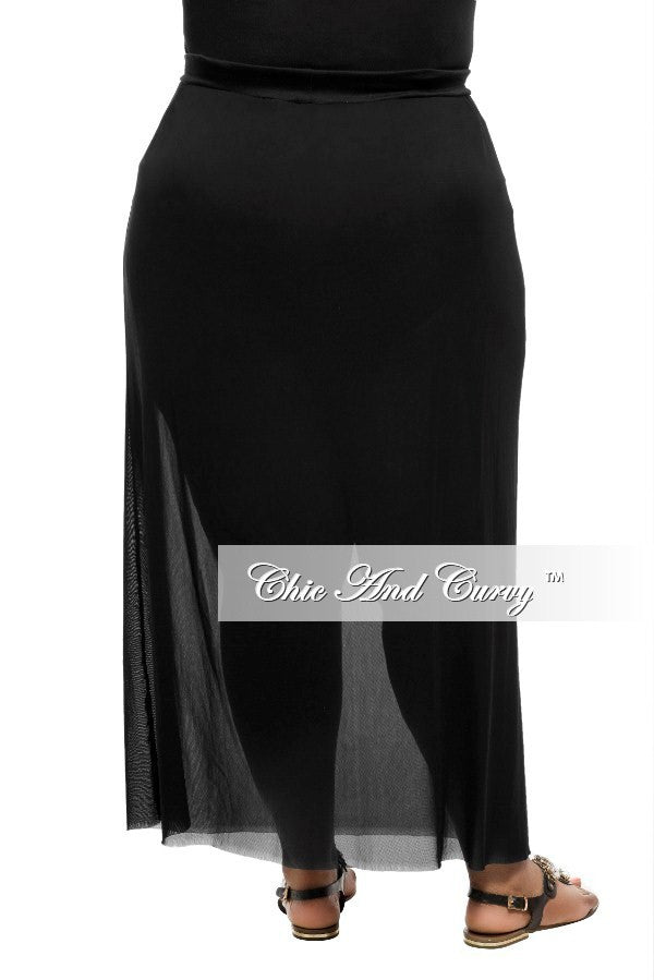 f3c09969bca Final Sale Plus Size Long Skirt with Sheer Bottom in Black – Chic ...